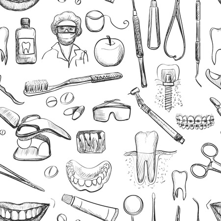 Seamless pattern with dental care instruments. Vector illustration