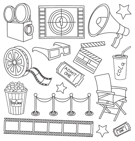 Patron Cine Dibujado A Mano Excelente Ilustración Vectorial Cine