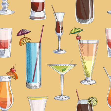 blue hawaiian drink: Doodle pattern cocktails, excellent vector illustration, EPS 10