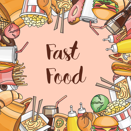 food poison: Doodle vector fast food, vector illustration, EPS 10