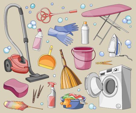 cleanup: Doodle vector set of cleanup, vector illustration, EPS 10