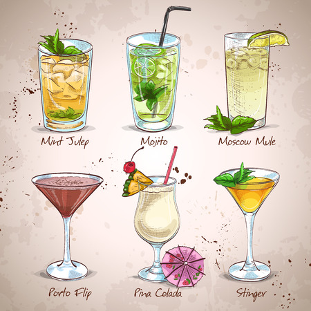cocteles: New Era Bebidas Cocktail Set, excelente ilustración vectorial, EPS 10