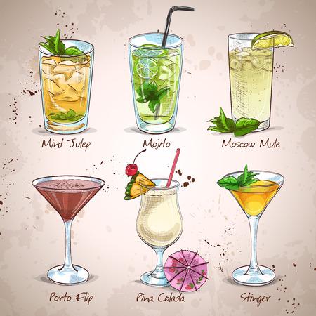 copa martini: New Era Bebidas Cocktail Set, excelente ilustración vectorial, EPS 10