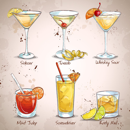 New Era bevande Coctail Set, eccellente illustrazione vettoriale, EPS 10