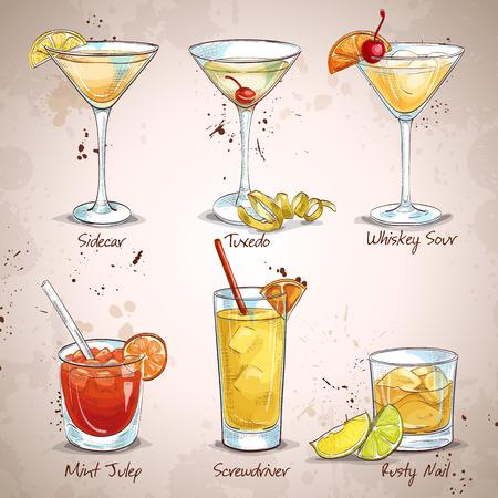 coctail: New Era Drinks Coctail Set, excellent vector illustration, EPS 10