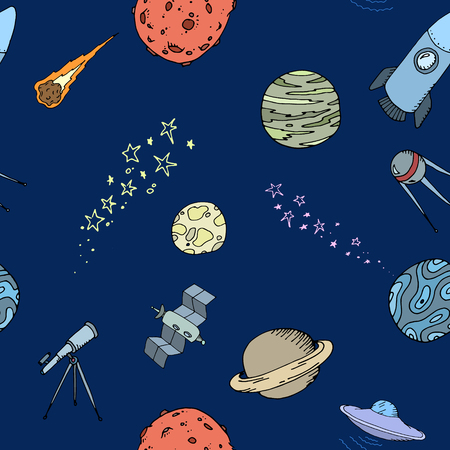 cartoon earth: Colored Seamless dooble space pattern set, vector illustration, EPS 10 Illustration