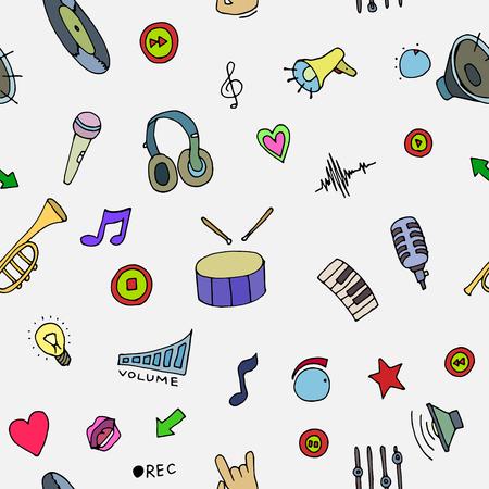 cd recorder: Music Doodle symbols. Seamless pattern. Vector illustration, EPS 10
