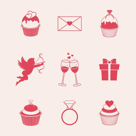 st  valentine's: St. Valentines Day icons vector illustration, EPS 10