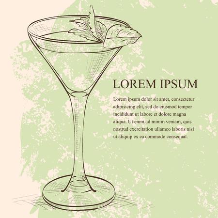 stinger: Cocktail alcoholic Stinger scetch. It consists of Cognac, Liqueur Peppermint, Ice cubes Illustration