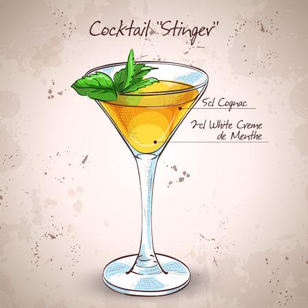 Cocktail alcoholic Stinger. It consists of Cognac, Liqueur Peppermint, Ice cubes
