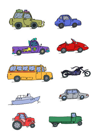 retro cartoon: Transport Sketch Set color. Vector illustration, EPS 10