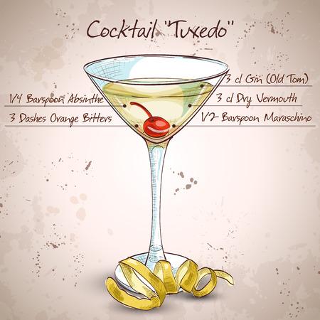 ajenjo: c�ctel de Tuxedo, que consiste en Old Tom Gin, vermut seco, licor de marrasquino, ajenjo y amargos de naranja, adornado con una cereza marrasquino y un toque de lim�n