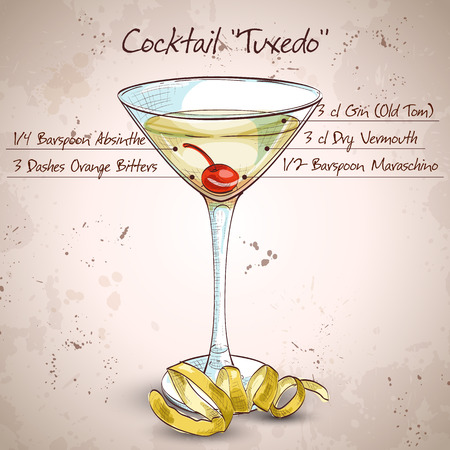 garnished: Tuxedo cocktail, consisting of Old Tom Gin, dry vermouth, maraschino liqueur, absinthe and orange bitters, garnished with a maraschino cherry and a lemon twist