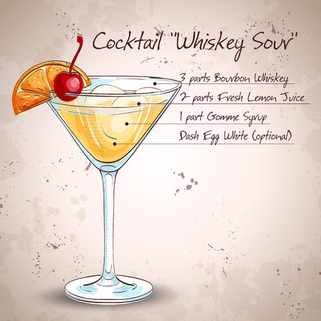 Cocktail Whiskey sour with lemon and ice cubes