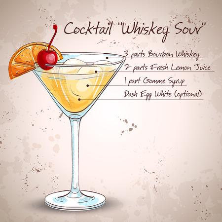 Cocktail Whiskey Sour met citroen en ijsblokjes Stock Illustratie
