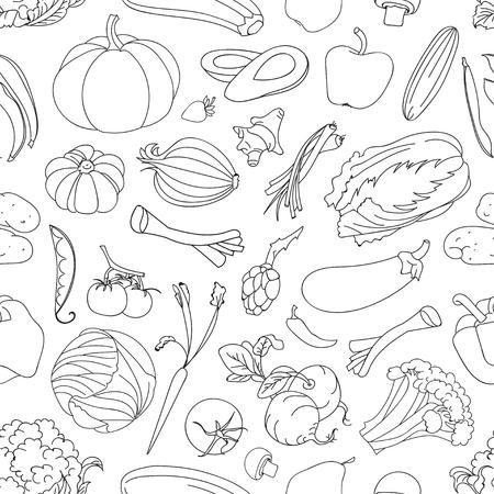 fruit and vegetable: Doodle pattern of vegetables, excellent vector illustration, EPS 10 Illustration