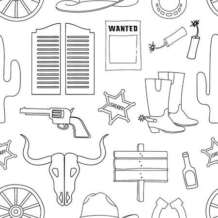 country side: Doodle pattern wild West with Injun, kofboy, van, horse, cactus, hat, horseshoe, lasso, sheriff, revolvers, skull. Illustration