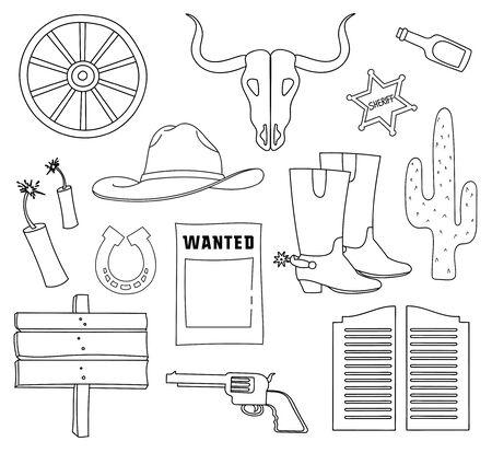 riding boot: Doodle vector wild West with Injun, kofboy, van, horse, cactus, hat, horseshoe, lasso, sheriff, revolvers, skull. Illustration