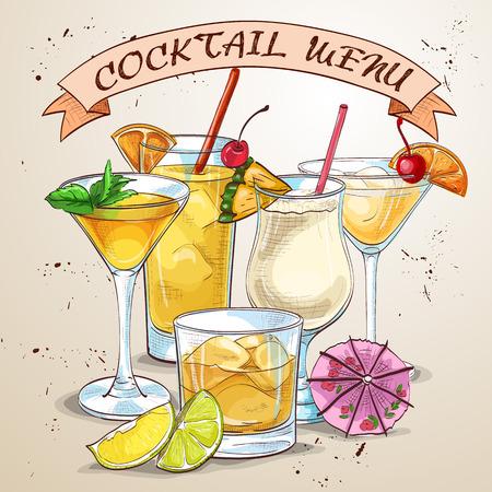 coctail: New Era Drinks Coctail menu, excellent vector illustration, EPS 10