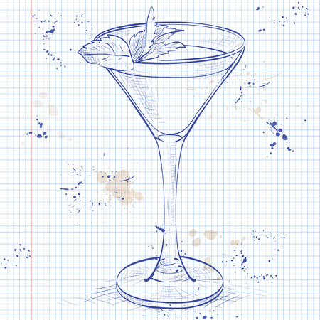 ch: Cocktail alcoholic Stinger on a notebook page. It consists of Cognac, Liqueur Peppermint, Ice cubes