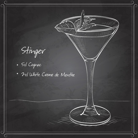 stinger: Cocktail alcoholic Stinger on black board. It consists of Cognac, Liqueur Peppermint, Ice cubes
