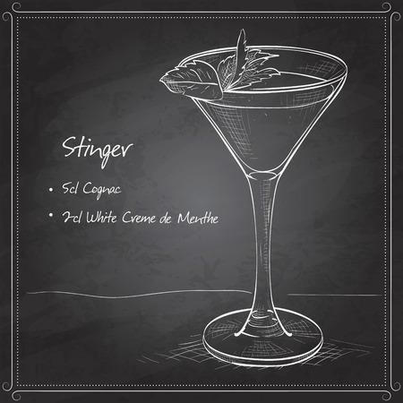 Cocktail alcoholic Stinger on black board. It consists of Cognac, Liqueur Peppermint, Ice cubes