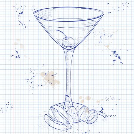 ajenjo: c�ctel de smoking en una p�gina de cuaderno, que consiste en Old Tom Gin, vermut seco, licor de marrasquino, ajenjo y amargos de naranja, adornado con una cereza marrasquino y un toque de lim�n Vectores