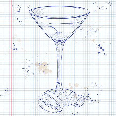 old notebook: Tuxedo cocktail on a notebook page, consisting of Old Tom Gin, dry vermouth, maraschino liqueur, absinthe and orange bitters, garnished with a maraschino cherry and a lemon twist Illustration