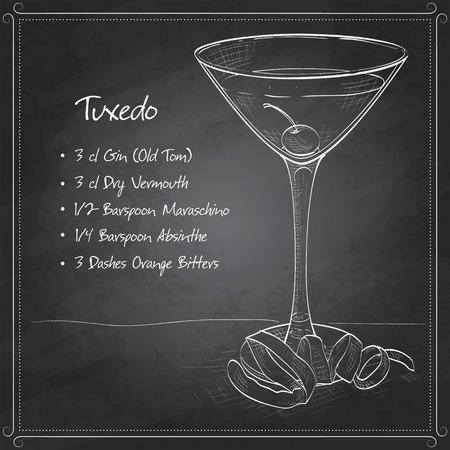 absinthe: Tuxedo c�ctel a bordo negro, que consiste en Old Tom Gin, vermut seco, licor de marrasquino, ajenjo y amargos de naranja, adornado con una cereza marrasquino y un toque de lim�n