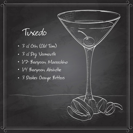 tending: Tuxedo cocktail on black board, consisting of Old Tom Gin, dry vermouth, maraschino liqueur, absinthe and orange bitters, garnished with a maraschino cherry and a lemon twist Illustration