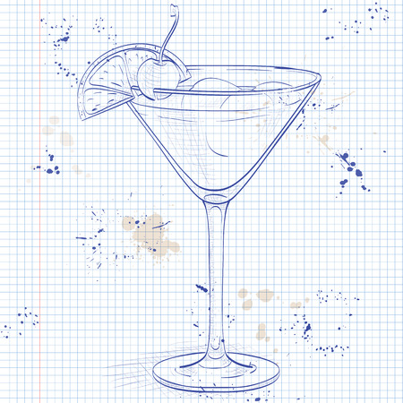 scotch whisky: Cocktail Whiskey sour with lemon and ice cubes on a notebook page Illustration