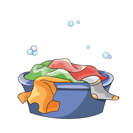 drench: Dirty clothes soak in tub with detergent before washing