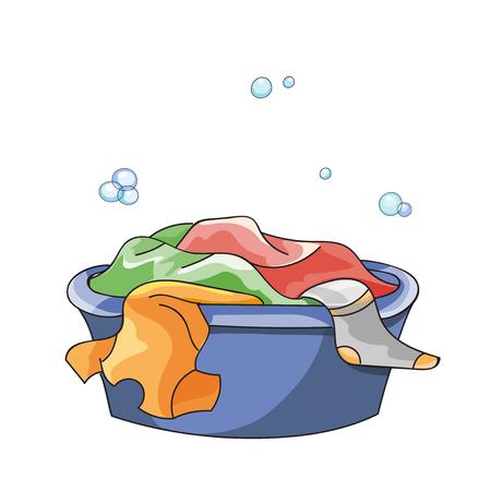 drench: La ropa sucia en remojo en la ba�era con detergente antes de lavar Vectores