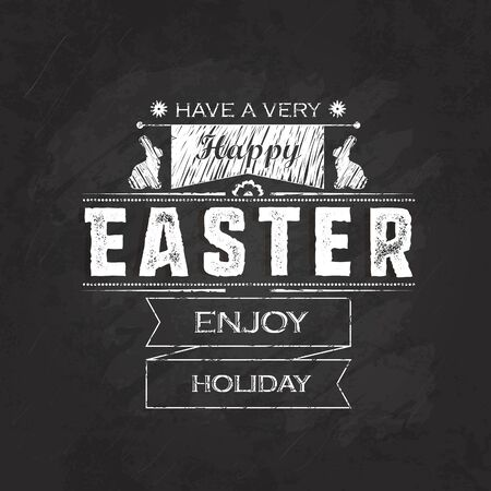 font design: Hand lettering Happy Easter inscription on black chalkboard background. Vector illustration. Can be used for Easter design. Illustration