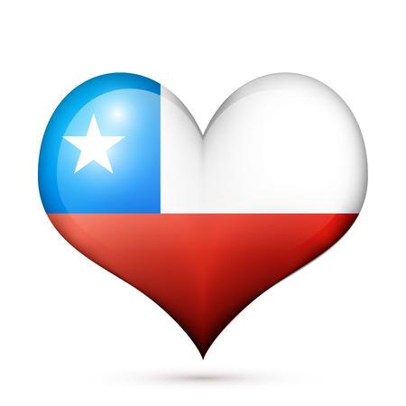 nations: Love Chile symbol Heart flag icon. Vector illustration. Illustration