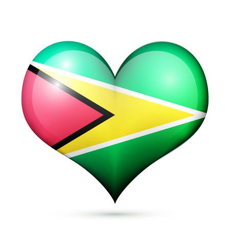Love Guyana symbol Heart flag icon. Vector illustration.