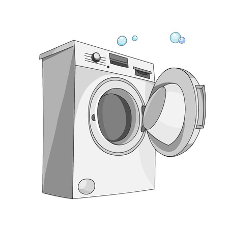 dryer  estate: A washing machine isolated on white background. Washer
