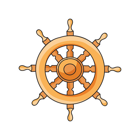 schooner: Hand drawn ship helm. Vintage vector illustration. Stock Photo