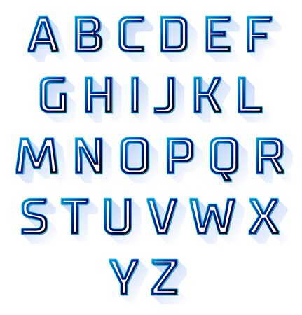 shadow effect: blue alphabet font with flat long shadow effect. Illustration