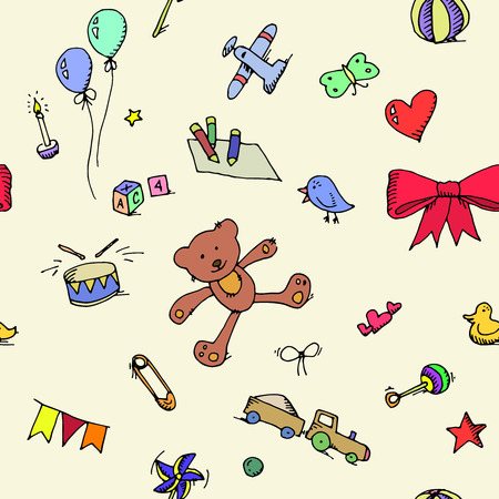 child s block: Cute doodle baby icons set seamless pattern.