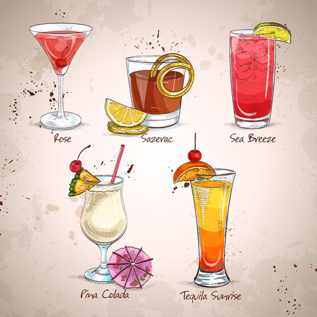 daiquiri: New Era Cocktail Set, different cocktails. Illustration