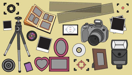 medium body: Hand drawn vector illustration set of photography sign and symbol and elements.