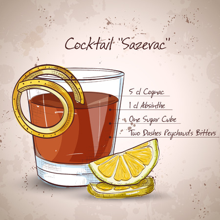 Classic sazerac cocktail with a lemon twist on a light background