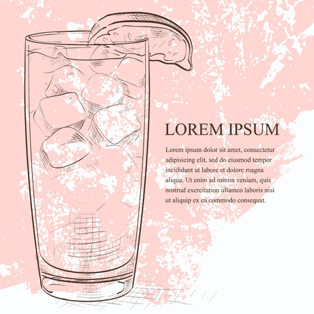 highball: Cocktail Sea Breeze scetch with Cherry and lime on isolated white Illustration