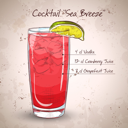 highball: Cocktail Sea Breeze with Cherry and lime on isolated white