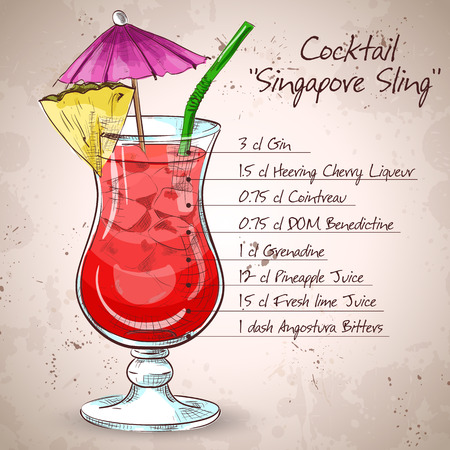 The Singapore Sling cocktail isolated on light background Illustration