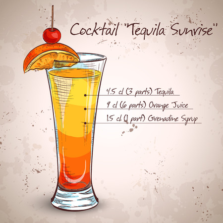 Tequila sunrise realistic cocktail in glass with lemon slice and drinking straw isolated on light background vector illustration