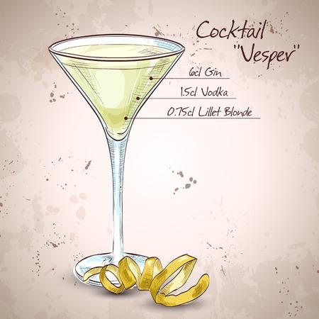 pimento: Cocktail Vesper mixed drink with Vodka, Gin, wine, Lemon