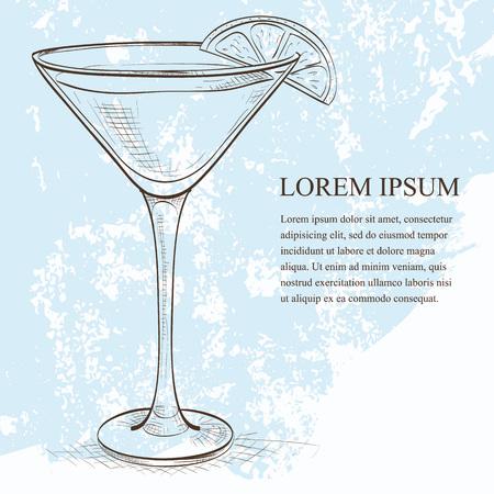 White Lady Cocktail sketch, consists of Gene, triple sec - orange liqueur, lemon, ice cubes Ilustração