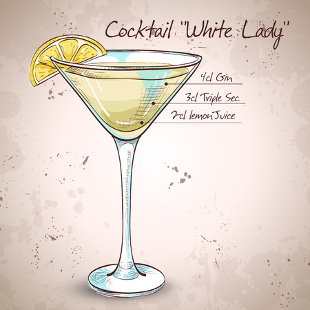 sec: White Lady Cocktail, consists of Gene, triple sec - orange liqueur, lemon, ice cubes Illustration